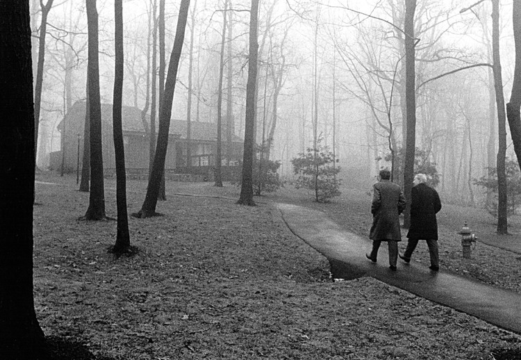 Richard Nixon takes a walk at Camp David in 1973. (National Archive/Newsmakers)/p