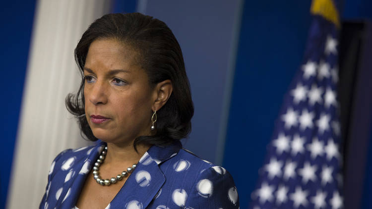Former national security adviser Susan Rice participates in a 2015 briefing at the White House. (Evan Vucci/AP)
