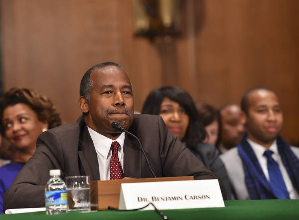 Ben Carson, then-secretary of HUD nominee, pauses while answering questions in Washington. (Photo by Ricky Carioti/The Washington Post)