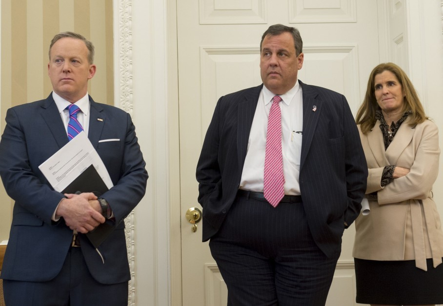 b4e838890 Chris Christie stands alongside his wife, Mary Pat, and White House press  secretary Sean Spicer as Donald Trump signs a bill in the Oval Office on  Tuesday.