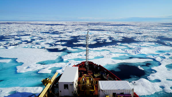 Canadian coast guard icebreaker Amundsen breaks through ice in Peel Sound in the Canadian Arctic. (Alice Li/The Washington Post)