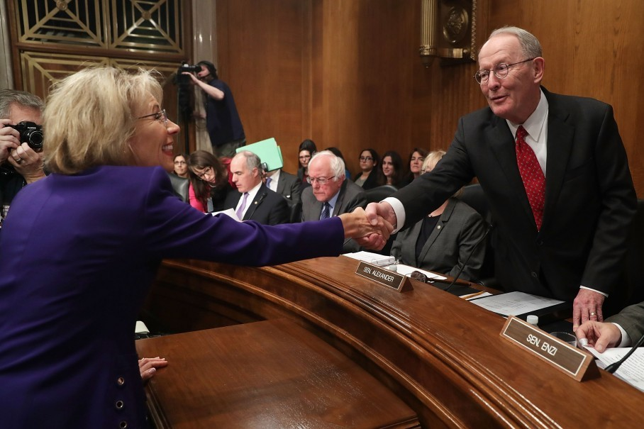 Betsy Devos Threat To Children With >> The Daily 202 Lamar Alexander Is Dragging Betsy Devos Across The