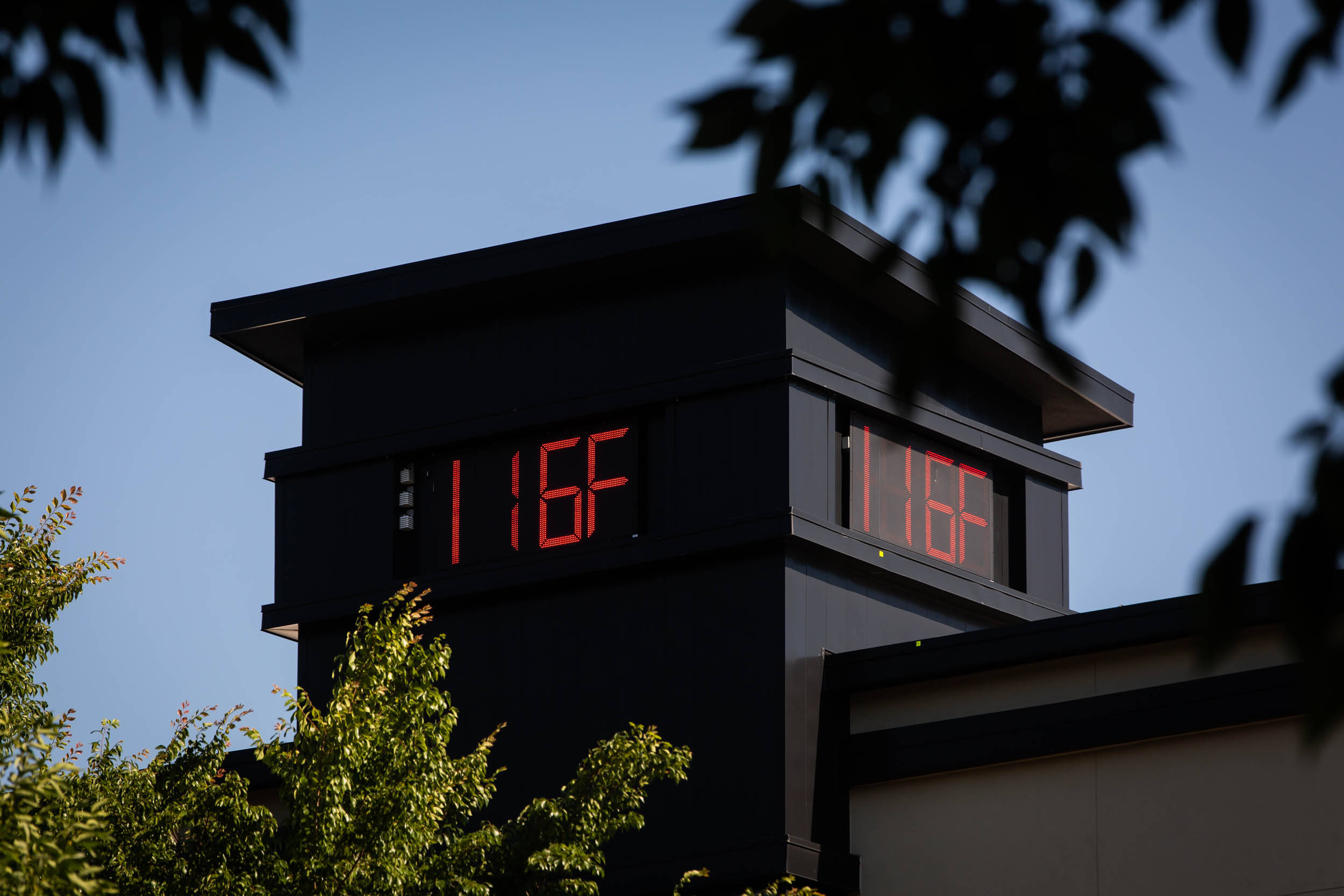 A thermometer reads 116 degrees Fahrenheit during a heatwave in Portland, Oregon on June 28. (Maranie Staab/Bloomberg)