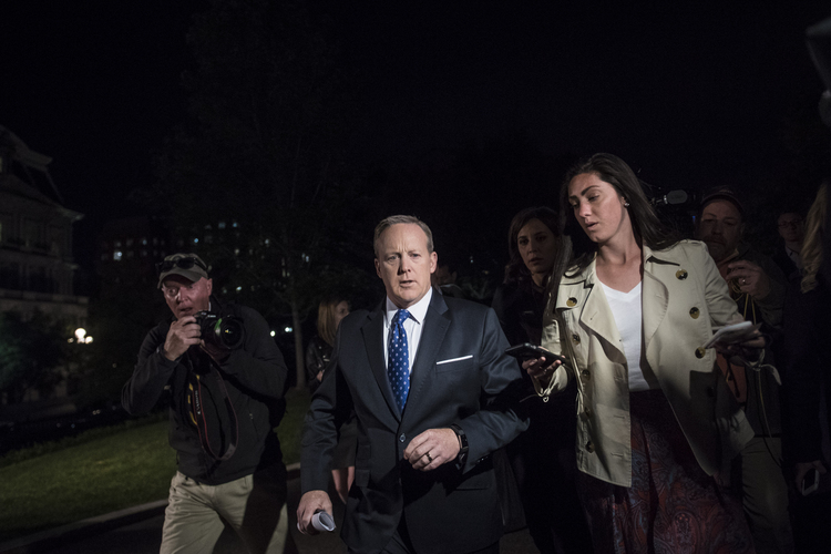 White House press secretary Sean Spicer speaks to reporters outside the West Wing last night. (Jabin Botsford/The Washington Post)/p