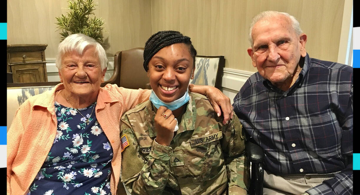 Delores and Frank Grasberger say they consider DashaunaPriest to be a third daughter to them. (Vitalia Senior Residences at Strongsville)