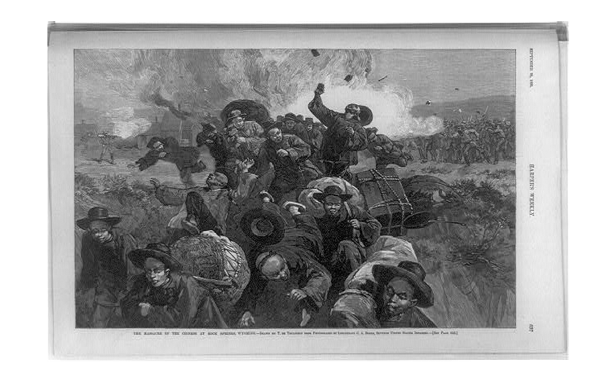 This 1885 print depicts Chinese immigrant miners working for Union Pacific Coal Company fleeing from armed White miners. (Library of Congress)