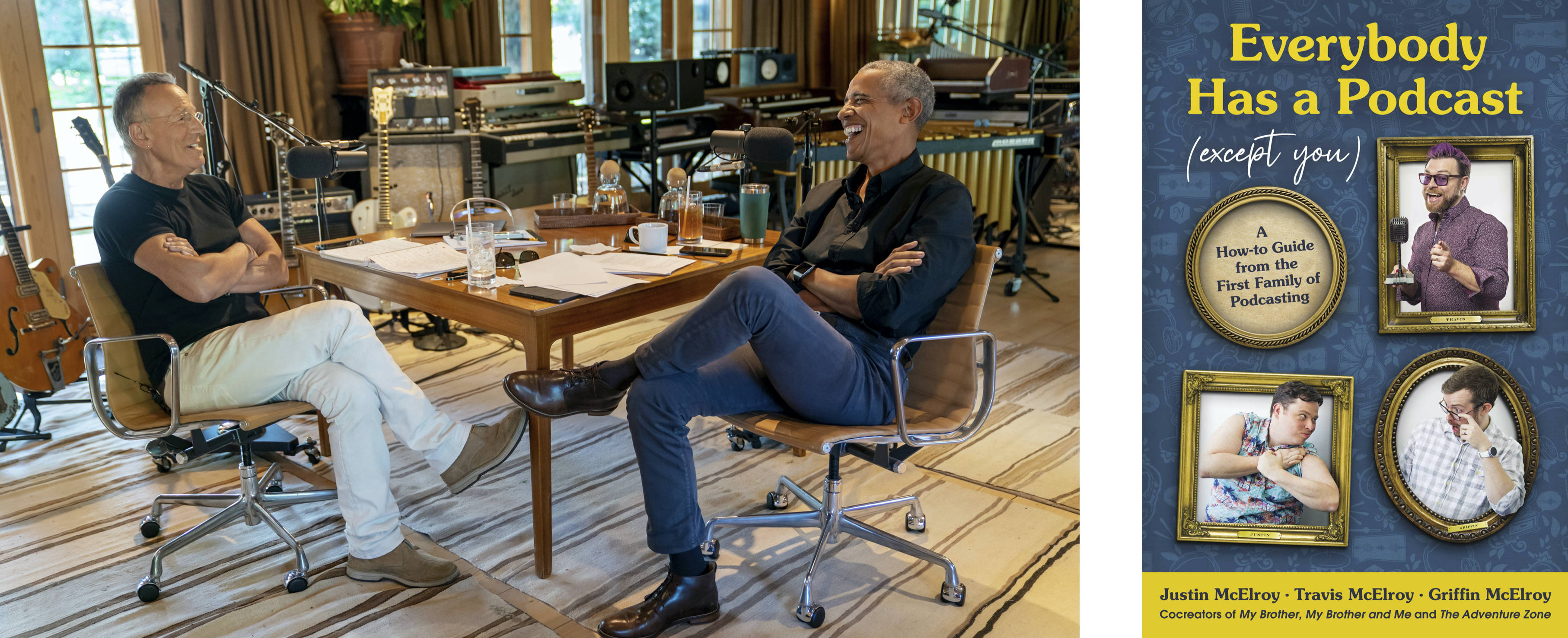 Bruce Springsteen and Barack Obama record their podcast for Spotify. (Photo by Rob DeMartin/Spotify via AP); Harper Perennial