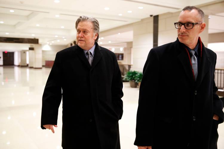 Steve Bannon leaves a House Intelligence Committee meeting where he was interviewed behind closed doors. (Jacquelyn Martin/AP)