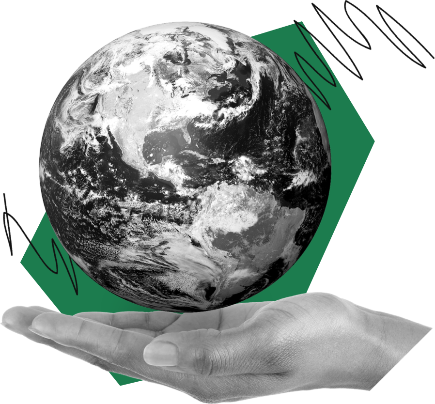 picture of earth in palm of hand.