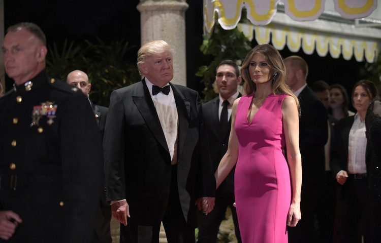 Donald and Melania Trump attend a Red Cross Gala at the Mar-a-Lago resort in Palm Beach in February. (Susan Walsh/AP)/p