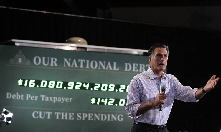 Mitt Romney used a national debt clock as a prop in Toledo, Ohio, during a 2012 rally. Trump talked about the debt much less during his campaign. (Alex Wong/Getty Images)/p
