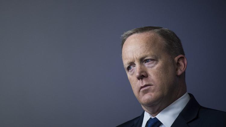 Sean Spicer speaks during a briefing. (Jabin Botsford/The Washington Post)/p