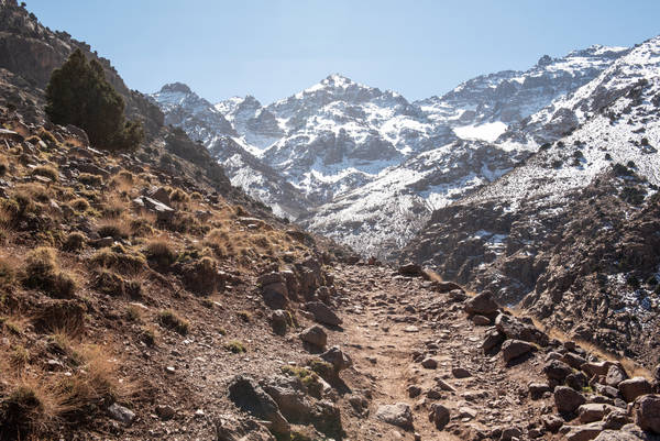 In Imlil, Morocco, the path leading to Jebel Toubkal, North Africa's highest peak, which is visible in the background. (Charlotte Schmitz for The Washington Post)