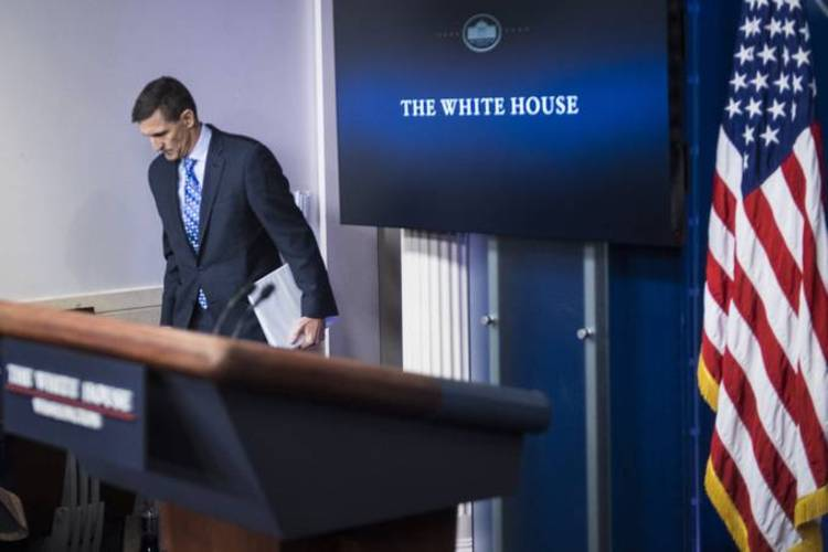 Michael Flynn prepares to speak during the daily news briefing at the White House in February 2017 during his short stint as Trump's first national security adviser. (Jabin Botsford/The Washington Post)