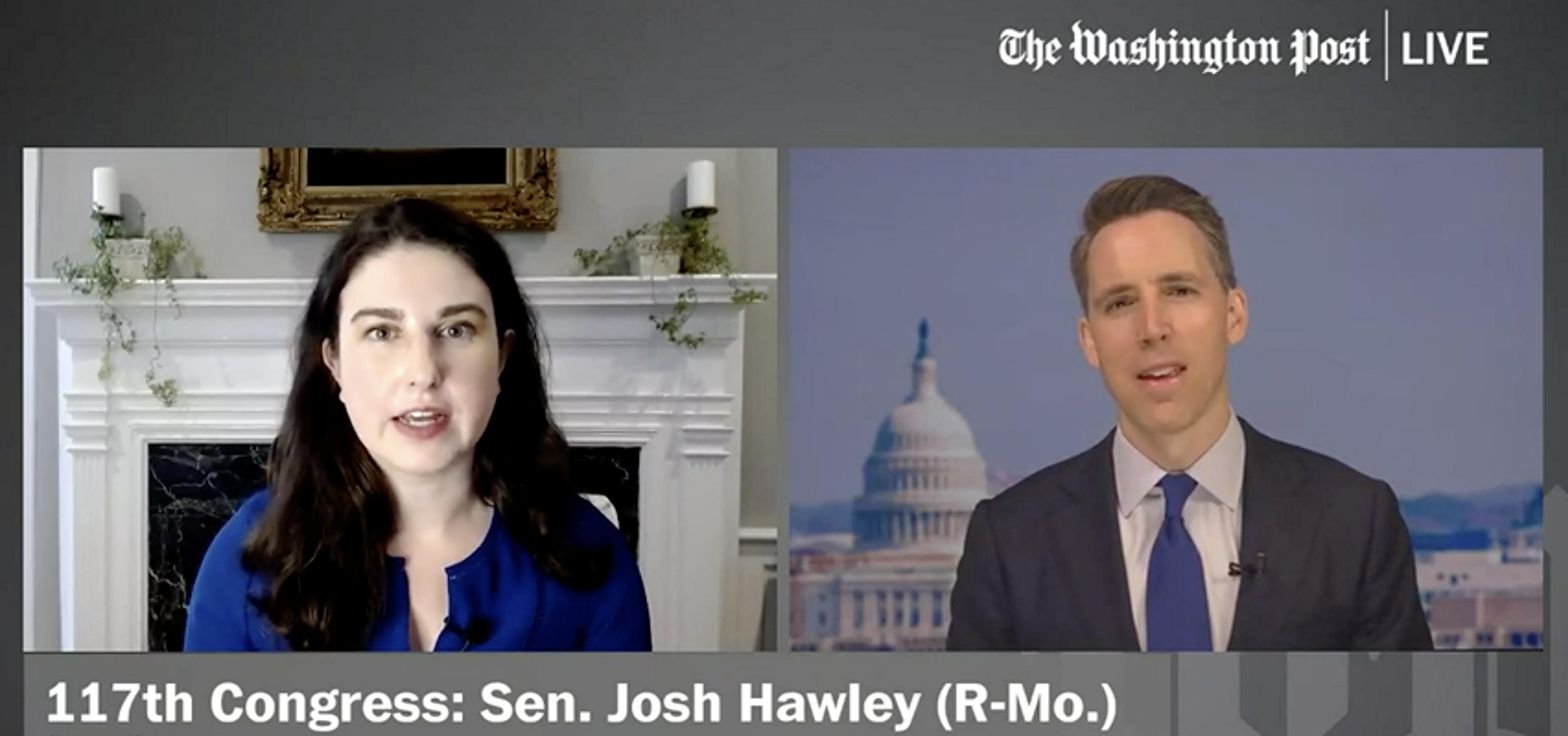 Washington Post technology policy reporter Cat Zakrzewski and Sen. Josh Hawley (R-Mo.) on Washington Post Live, May 4, 2021