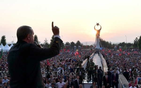 Erdogan speaks at the inauguration of a monument to commemorate the victims of the failed coup attempt in Ankara on July 16 (Presidency Press Service via Associated Press)