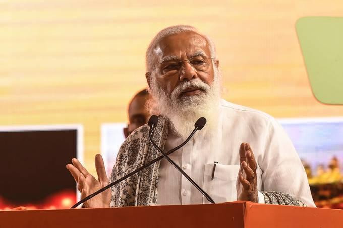 Indian Prime Minister Narendra Modi in Haldia, India, on Feb. 7. (Dibyangshu Sarkar/AFP/Getty Images)