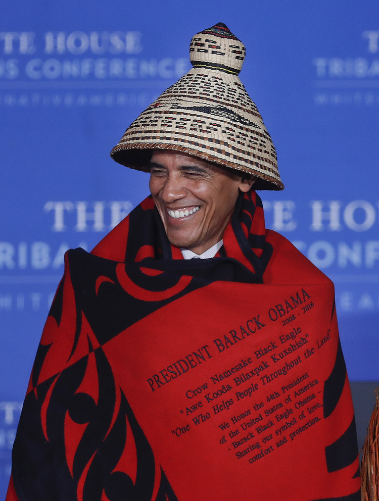 "The no-funny-hats rule apparently no longer applies in the eighth year of one&#39;s presidency. Barack&nbsp;Obama addressed leaders of more than 500&nbsp;Native Americans tribes at an eighth&nbsp;annual&nbsp;conference. &quot;I hope I&rsquo;ve done right by you,&rdquo; he told the crowd at the White House, per&nbsp;<a href=""https://www.washingtonpost.com/politics/obama-tells-tribal-leaders-i-hope-ive-done-right-by-you/2016/09/26/86416cf4-8401-11e6-a3ef-f35afb41797f_story.html"">Juliet Eilperin</a>.&nbsp;(Pablo Martinez Monsivais/AP)</p>"