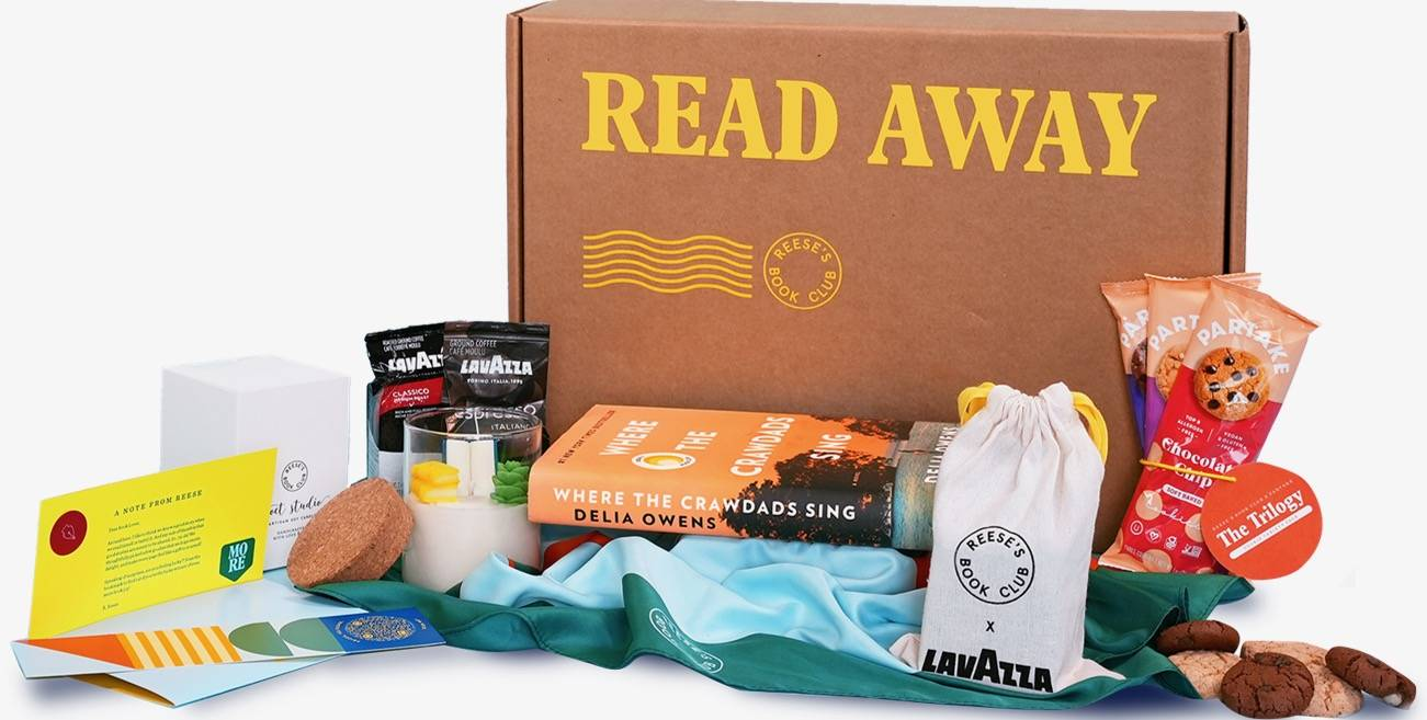"""My edition of Reese Witherspoon's Gift of Reading Box looked just like this but came with a copy of """"Infinite Country,"""" a new novel by Patricia Engel, whom our reviewer called """"a gifted storyteller whose writing shines even in the darkest corners."""" (Photo courtesy of Reese's Book Club)"""