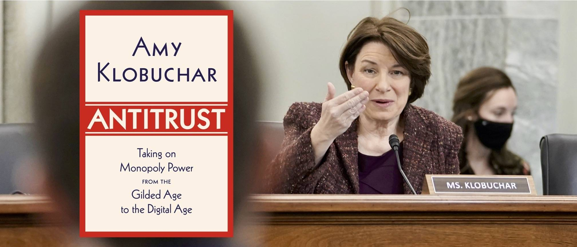 In proposed legislation and her upcoming book, Sen. Amy Klobuchar has announced her intentions to help strengthen antitrust regulation in the United States. (Photo by Ken Cedeno/EPA-EFE/Shutterstock; Knopf)