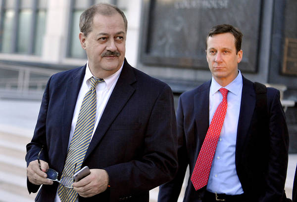 Don Blankenship walking out of a courthouse during his trial in Charleston, W. Va. (AP Photo/Chris Tilley, File)