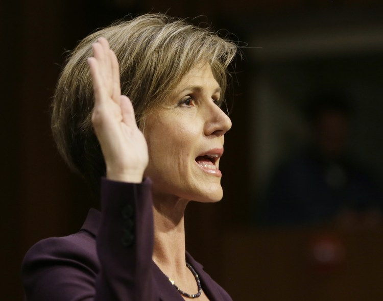 "Sally Yates is sworn in prior to testifying before a Senate Judiciary Committee hearing on ""Russian interference in the 2016 U.S. election."" (Jim Bourg/Reuters)/p"