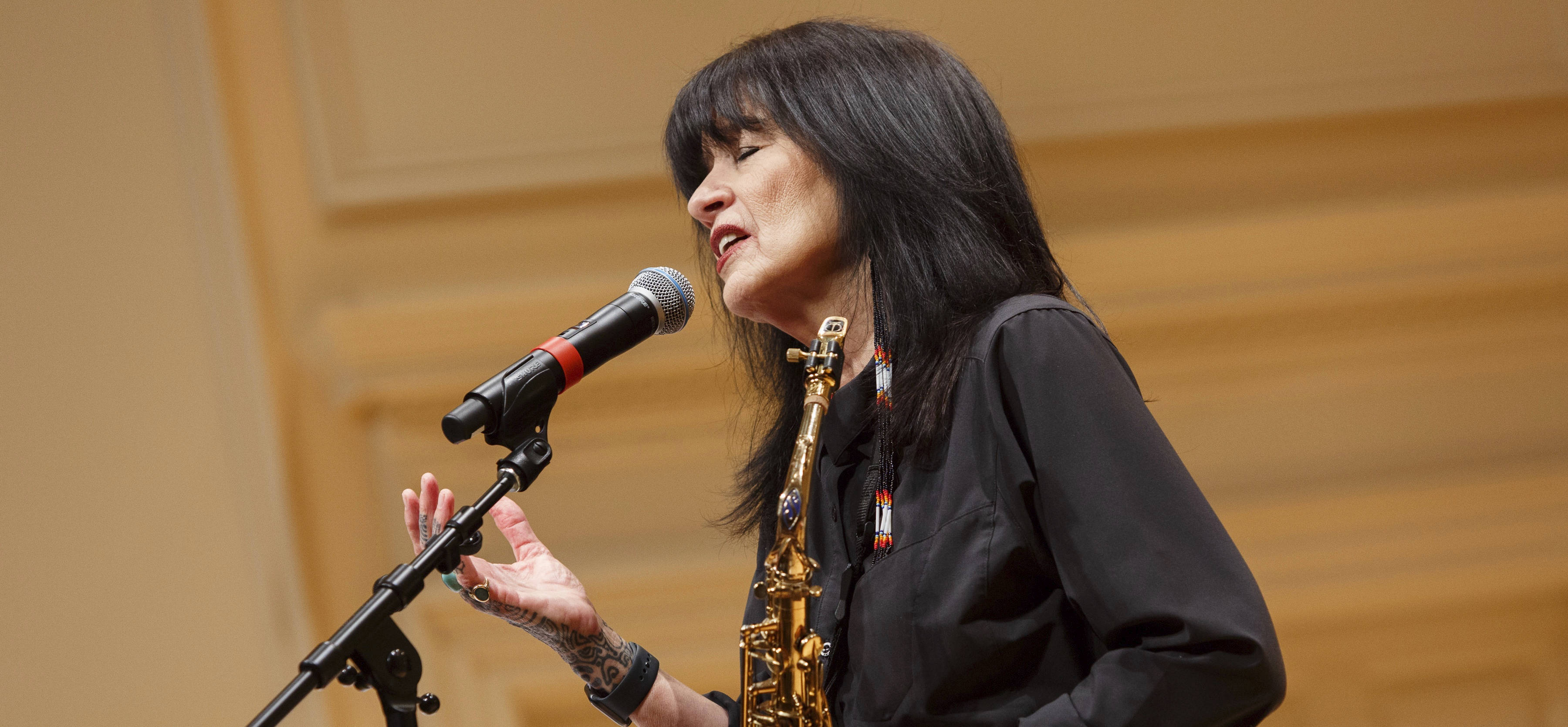 U.S. Poet Laureate Joy Harjo performs with her band at the Library of Congress, Sept. 19, 2019. (Shawn Miller/Library of Congress)