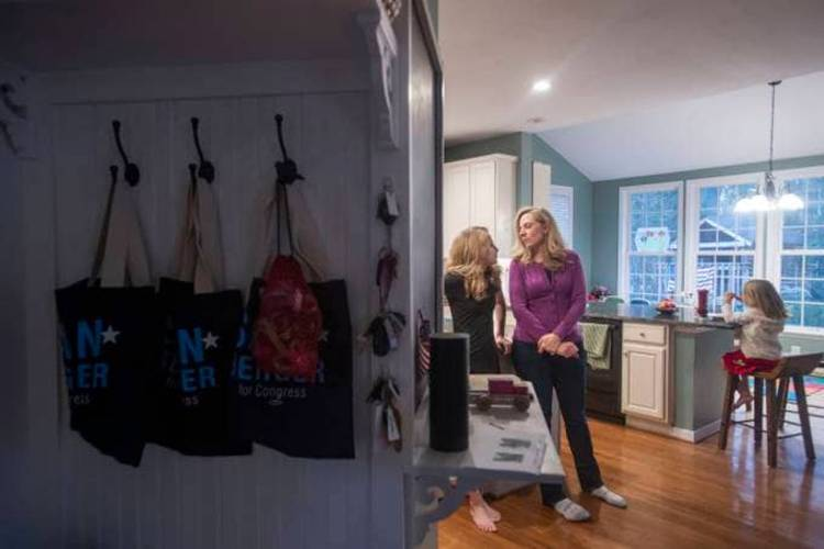 Rep. Abigail Spanberger (D-Va.) chats with her 11-year-old daughter, Claire, at their home in Glen Allen, Va., as she deliberated on what might be the toughest vote of her congressional career. (Amanda Voisard for The Washington Post)