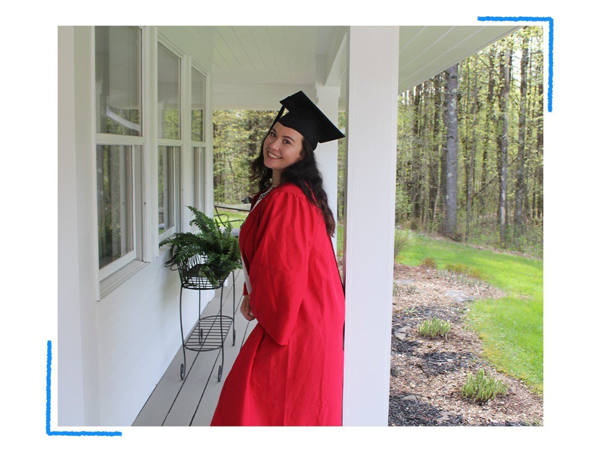 Jackie O'Brien at her makeshift at-home graduation from Boston University in Burlington, Vt., in May 2020. (Courtesy of Jackie O'Brien)