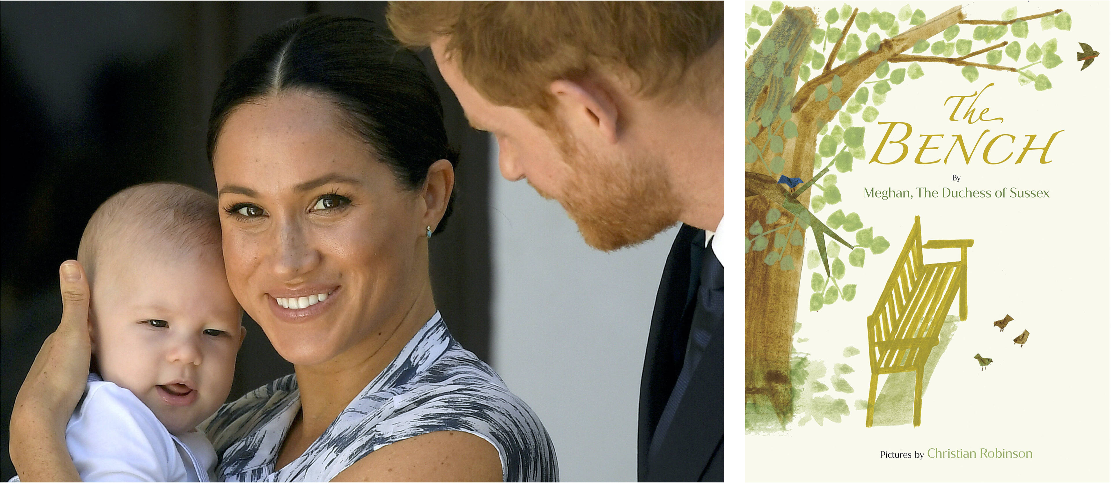 Prince Harry and his wife, Meghan, Duchess of Sussex, holding their son, Archie, in 2019 (Reuters file photo/Toby Melville); Random House Books for Young Readers