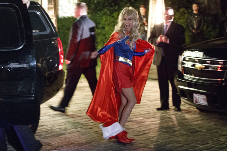 Kellyanne Conway arrives with Donald Trump for a costume party at the New York home of Robert Mercer, one of Trump's biggest campaign donors, in December. (Evan Vucci/AP)/p