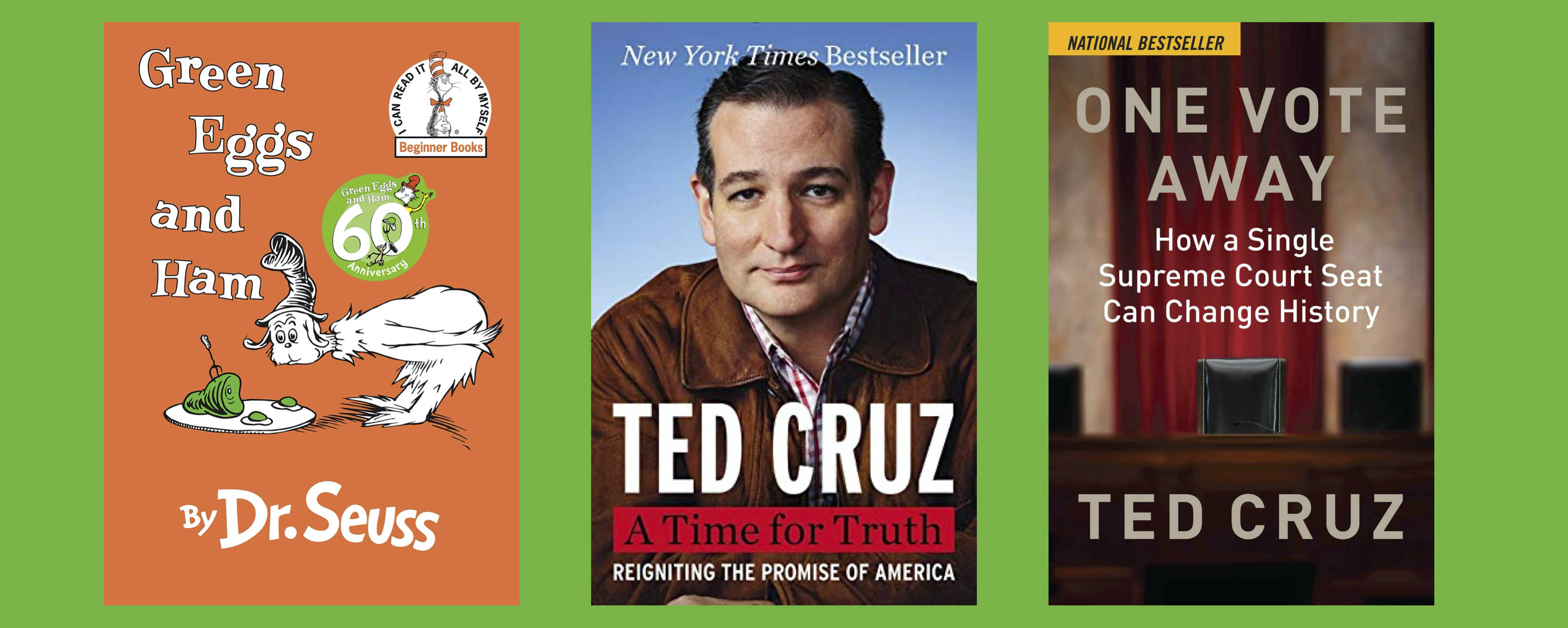 Sen. Ted Cruz wrote some of these books, and he's eager to sign them all. (Random House; Broadside; Regnery)