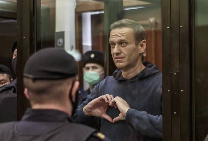 Russian opposition figure Alexei Navalny during a hearing in the Moscow City Court on Feb. 2. (Moscow City Court press service/EPA-EFE/Shutterstock)