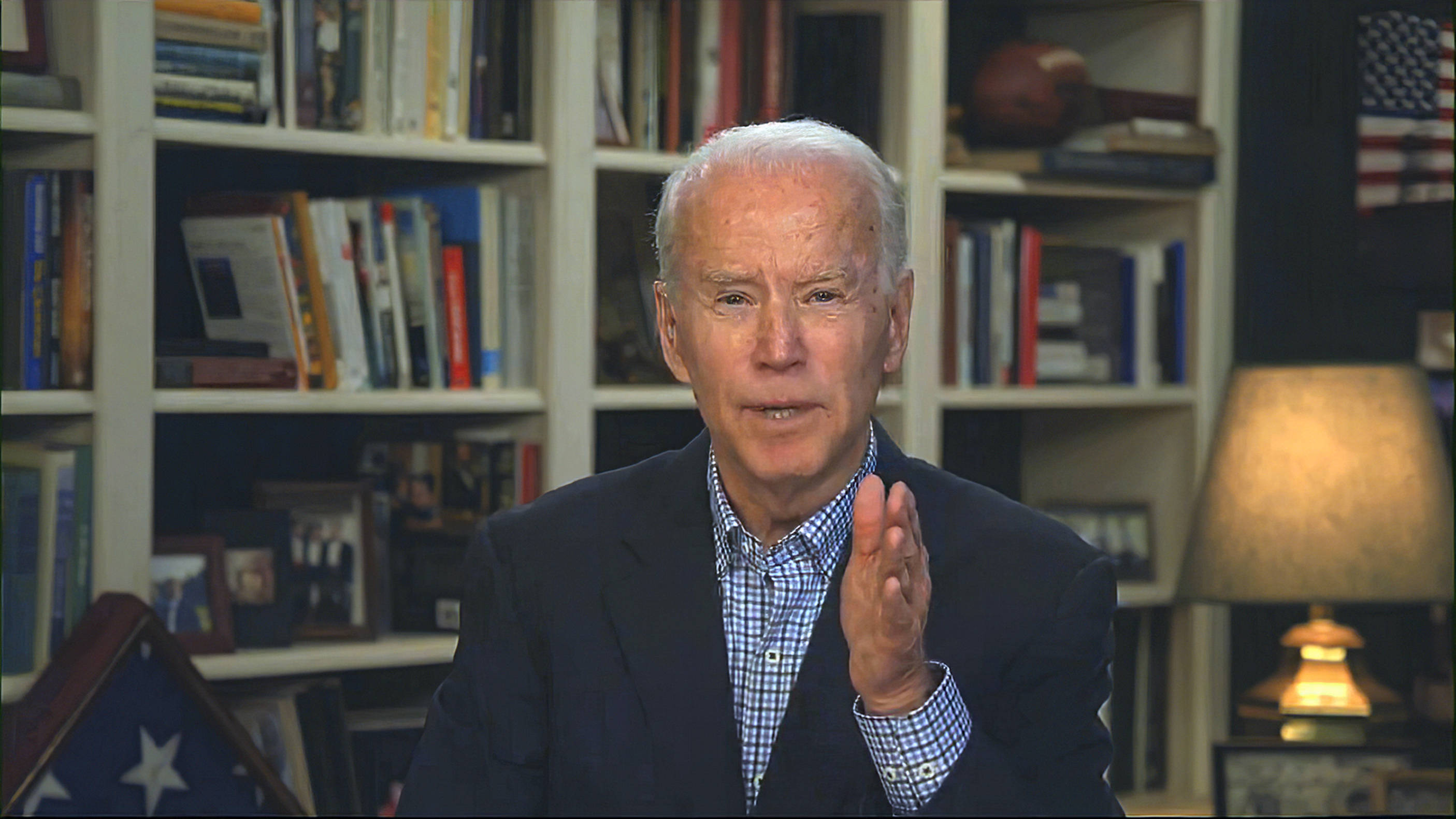 Former vice president Joe Biden speaks from his home in Delaware last week. (Biden for President via AP)