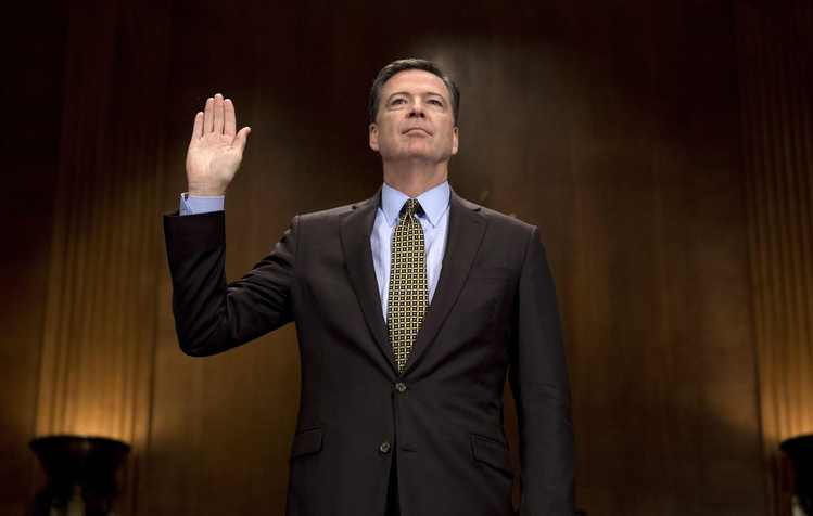 James Comey is sworn in prior to testifying before the Senate Judiciary Committee on May 3. (Jim Watson/AFP/Getty Images)/p