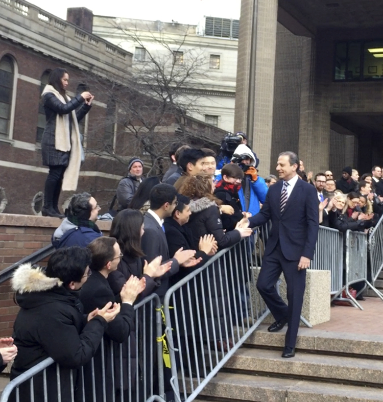 Preet Bharara thanks well-wishers outside the New York office where he worked until he was fired by Trump in March. (Larry Neumeister/AP)/p