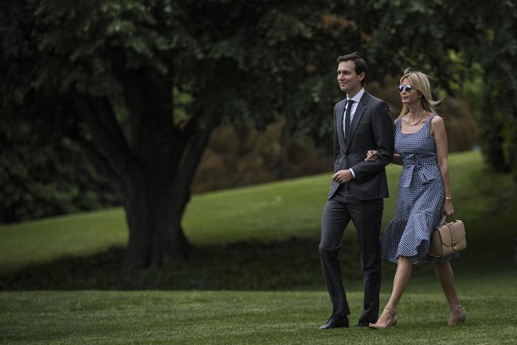 Ivanka and her husband, Jared Kushner, walk to Marine One last Thursday. (Jabin Botsford/The Washington Post)/p