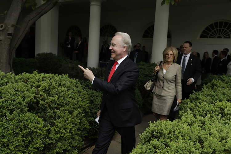 Tom Price arrives in the Rose Garden for last week's ceremony to celebrate the House passage of the health care bill. (Evan Vucci/AP)/p