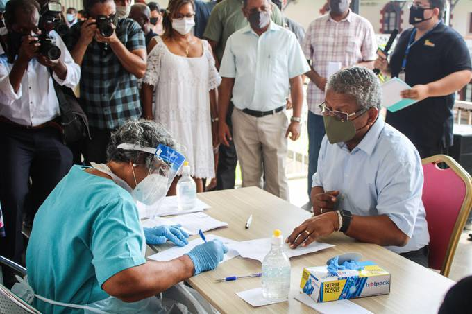 President of Seychelles Wavel Ramkalawan receives a dose of the Chinese covid-19 vaccine produced by Sinopharm at the Seychelles Hospital in Victoria in January. (Photo by Rassin Vannier/AFP via Getty Images)