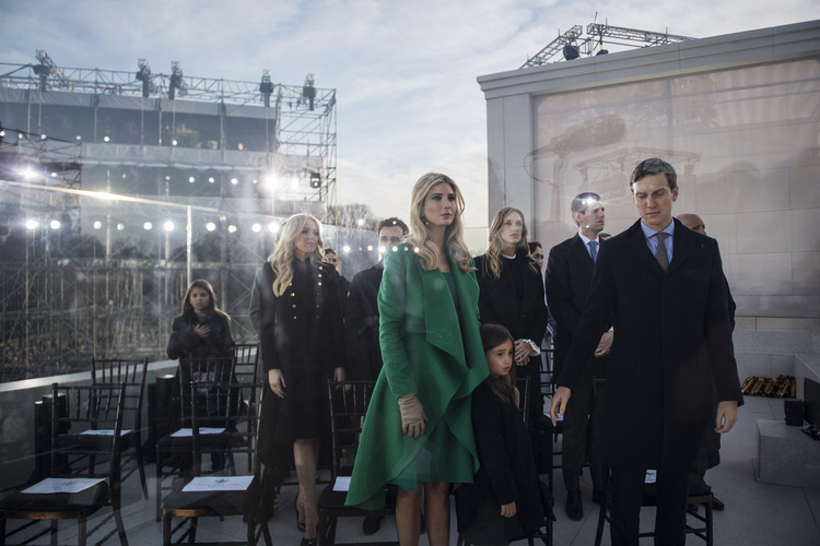 """Ivanka Trump and her husband Jared Kushner listen on stage at the Lincoln Memorial during a pre-Inaugural """"Make America Great Again! Welcome Celebration"""" (Photo by Jabin Botsford/The Washington Post)"""