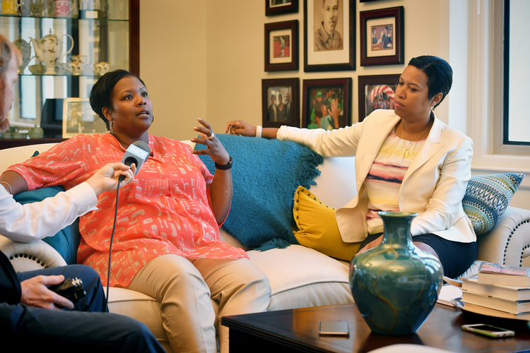 Kaya Henderson talks about her time as the chancellor of D.C. schools in Mayor Muriel Bowser's office last summer. (Marvin Joseph/The Washington Post)/p