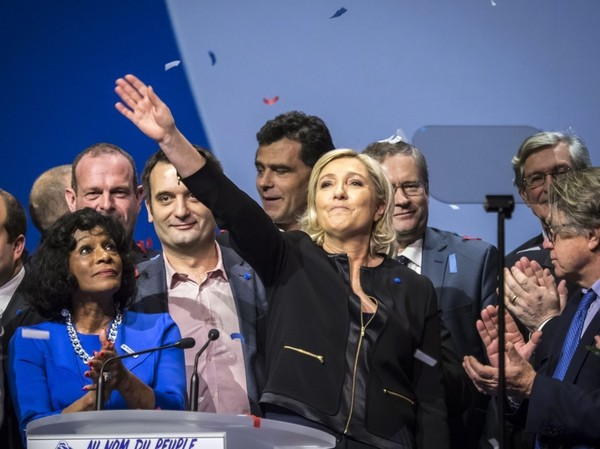 Marine Le Pen launches her presidential campaign in Lyon, France, on Feb. 5. (Arnold Jerocki/EPA)</p>