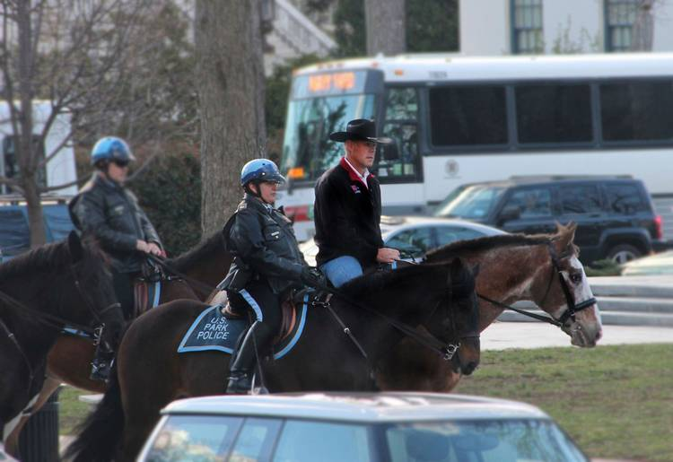 Interior Secretary Ryan Zinke arrives for his first day of work at the Interior Department in Washington aboard Tonto, a 17-year-old Irish sport horse. (Interior Department/AP)