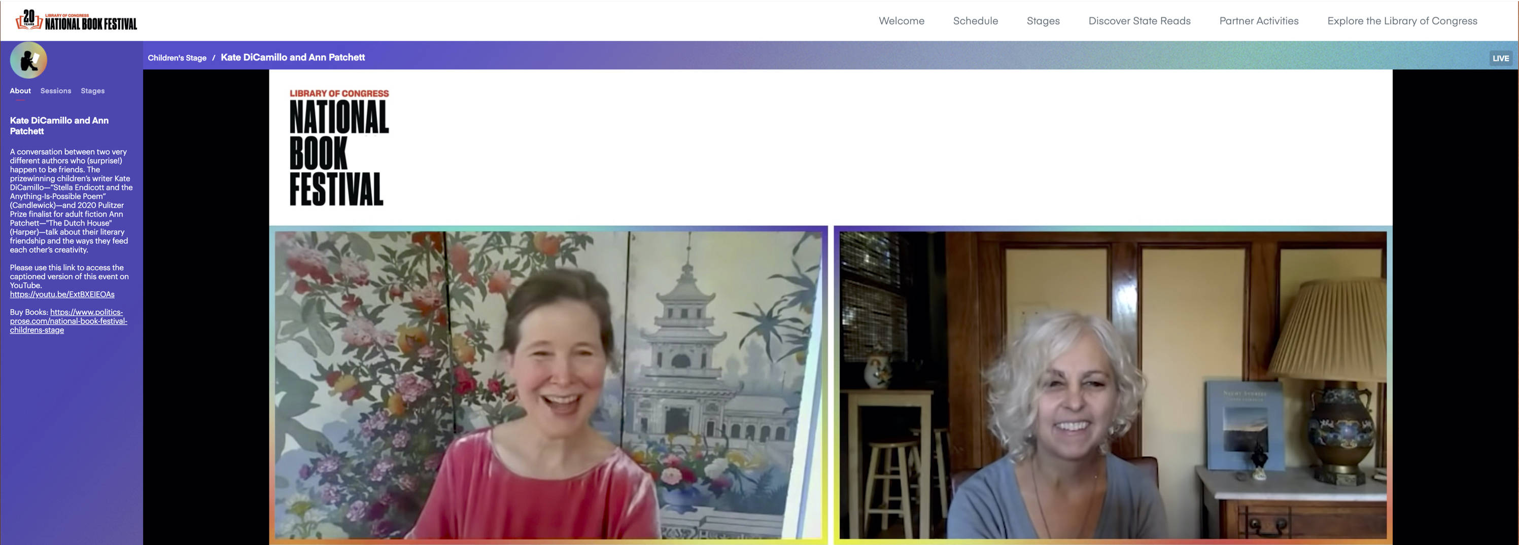 Ann Patchett and Kate DiCamillo talked about their long friendship during the virtual National Book Festival. (The Library of Congress)