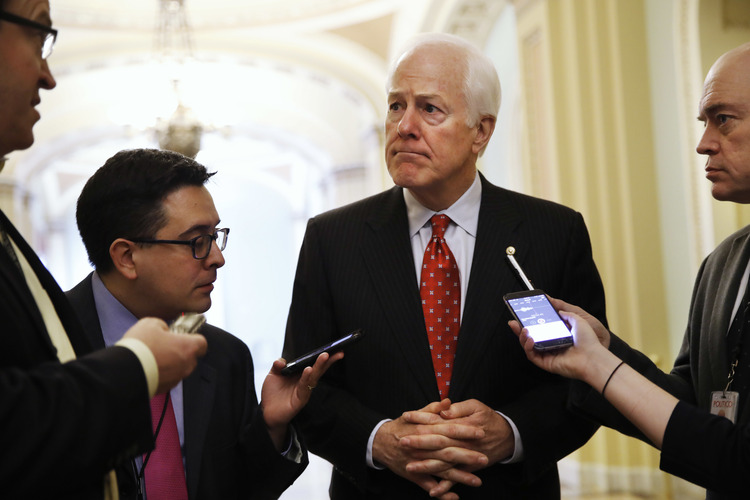 Sen. John Cornyn talks with reporters on Capitol Hill. (AP/Jacquelyn Martin, File)/p