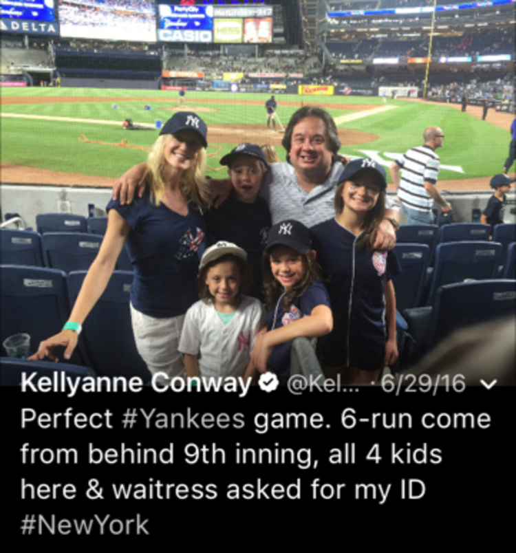 Kellyanne Conway tweeted this picture with her husband, George, and children./p
