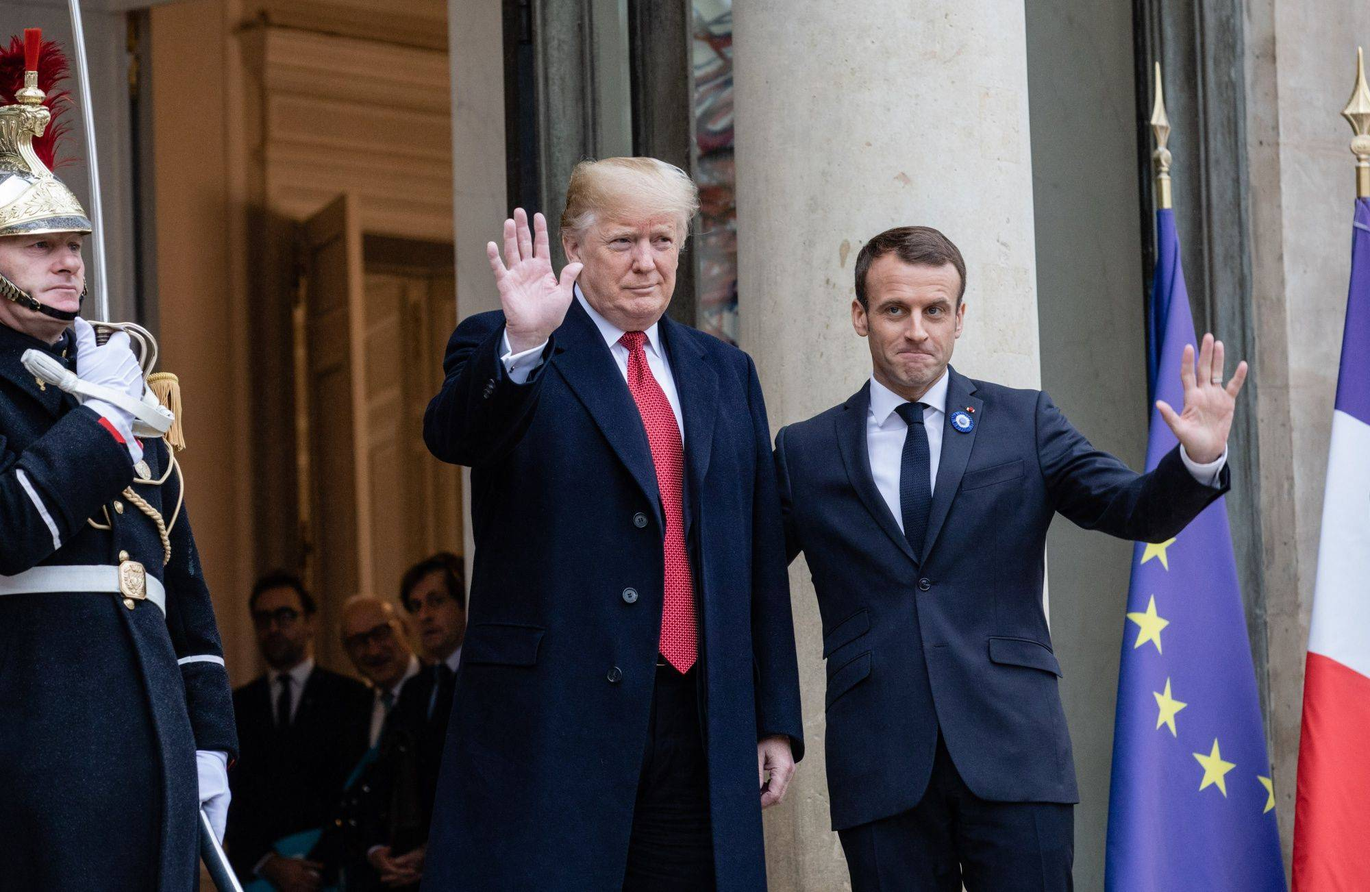 President Trump and French President Emmanuel Macron at the Élysée Palace during World War I commemoration ceremonies in Paris on Nov. 10, 2018. (Marlene Awaad/Bloomberg News)