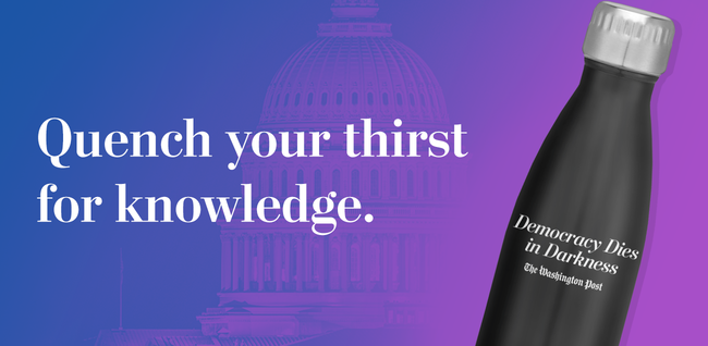 Quench your thirst for knowledge. (Democracy Dies in Darkness water bottle)