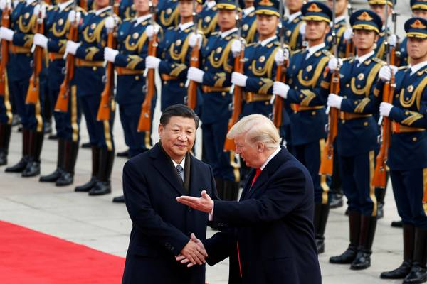 President Trump and Chinese President Xi Jingping in Beijing on November 9, 2017. (Damir Sagoli/Reuters)
