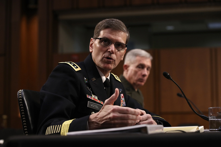 U.S. Central Command Commander Joseph Votel testifies yesterday before the Senate Armed Services Committee. (Win McNamee/Getty Images)/p